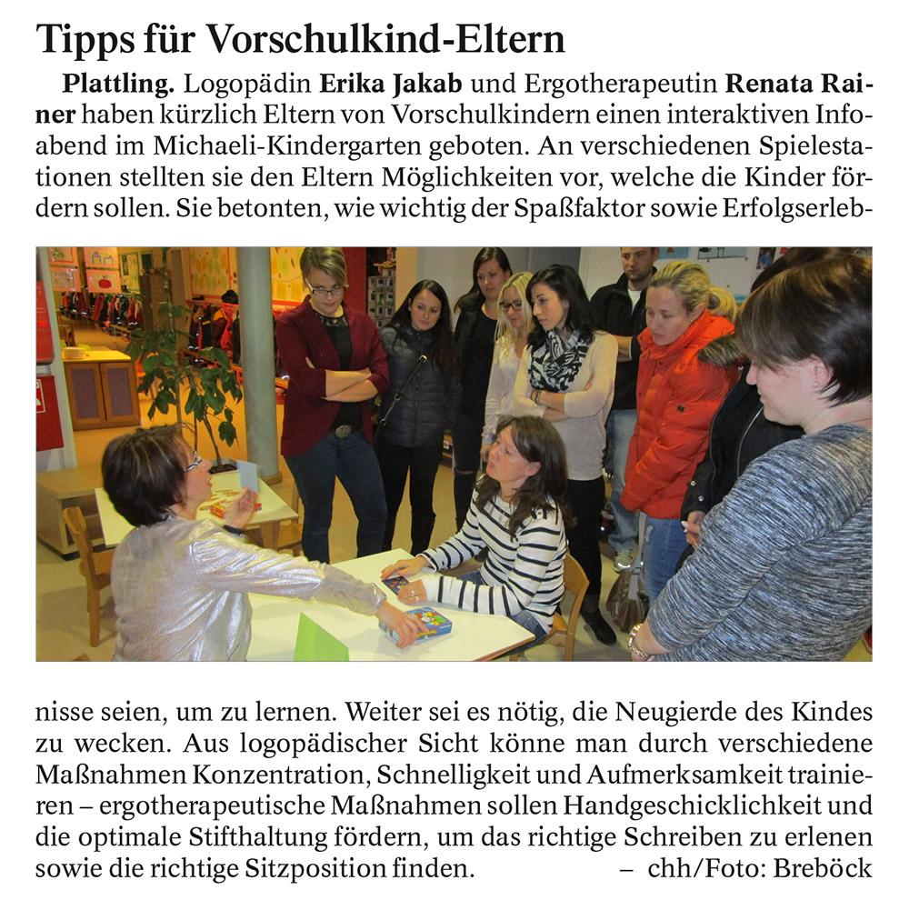 Zeitungsartikel Tipps für Vorschulkinder
