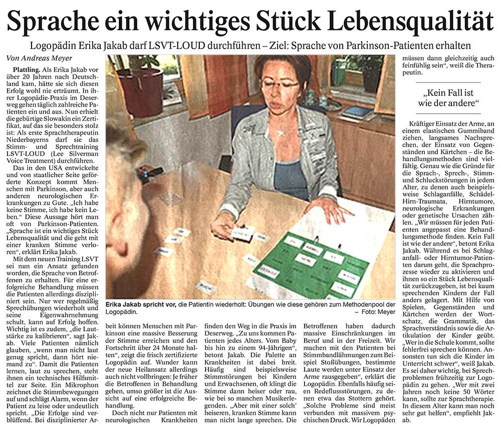 Zeitungsartikel Sprache ein wichtiges Stück Lebensqualität